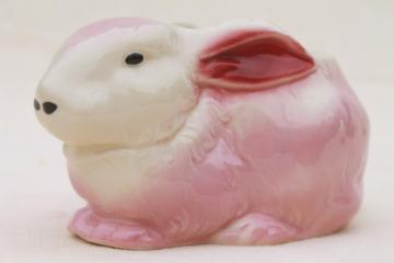 50s 60s vintage USA pottery planter, pink & white bunny rabbit for Easter or baby gift