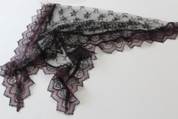 50s 60s vintage black lace chapel veil, nylon head scarf mantilla for church