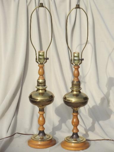 50s 60s vintage colonial maple polished brass table lamps pair aloadofball Image collections