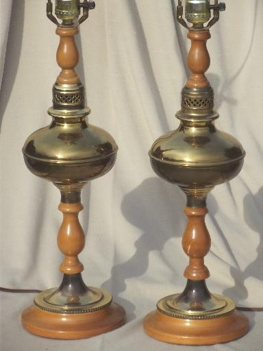 50s 60s vintage colonial maple  polished brass table lamps pair