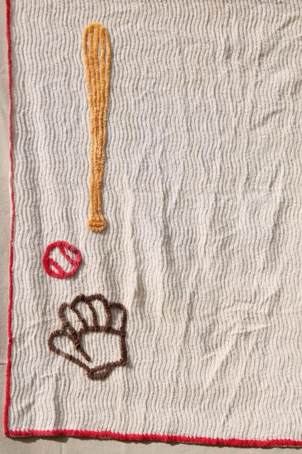 50s 60s vintage cotton chenille curtains, baseball theme decor for sports TV den or man cave!