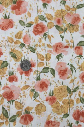 50s 60s Vintage Cotton Fabric Amber Orange Gold Floral Dress Material