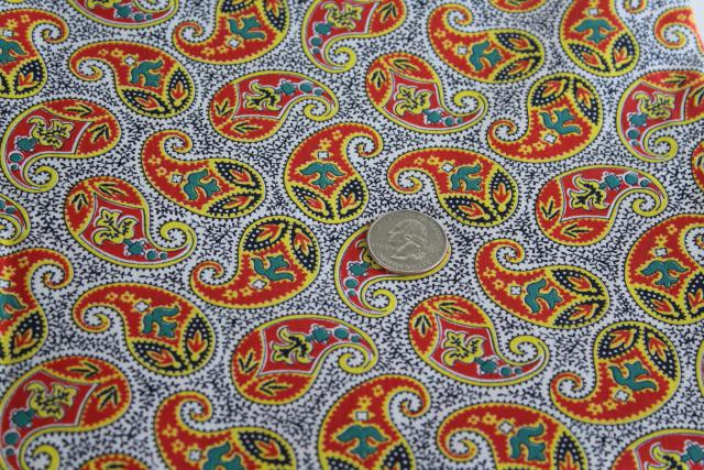50s 60s vintage cotton fabric w/ bright paisley print, bohemian style