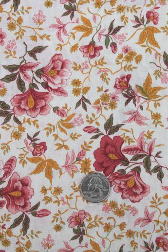 50s 60s Vintage Cotton Fabric Orange Rose Pink Floral Dress Material