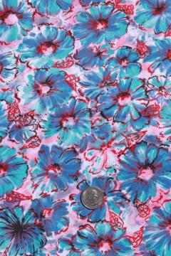50s 60s vintage cotton fabric, retro floral print skirt or dress material