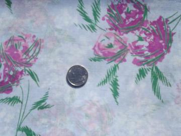 50s 60s vintage cotton fabric, sheer summer dress weight, roses floral