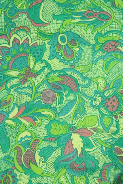 50s 60s vintage cotton paisley print fabric, shade of green and pink