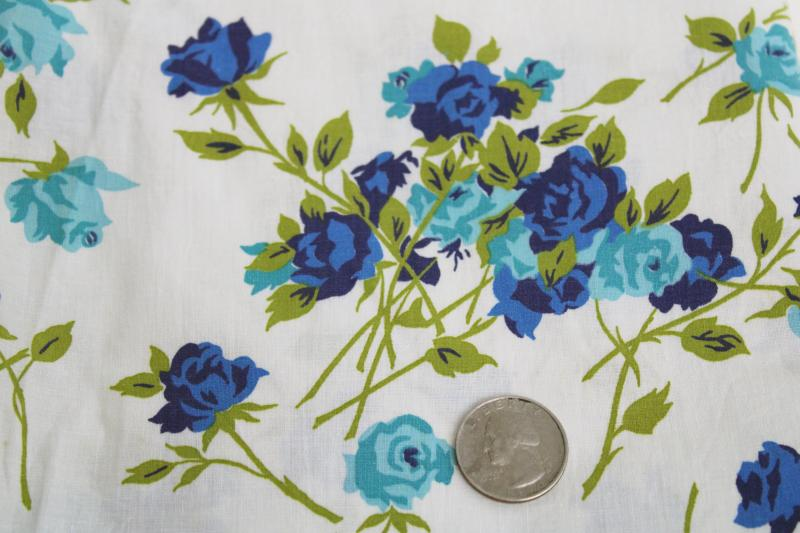 50s 60s vintage fabric w/ blue roses print, smooth crisp cotton sheeting