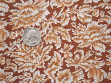 50s 60s vintage fabric, elegant brown damask print cotton dress material