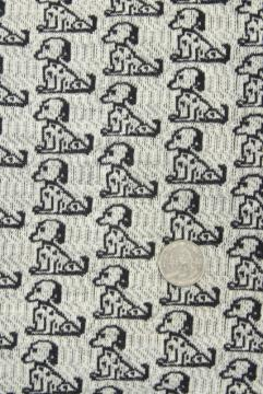 50s 60s vintage fabric w/ snoopy black & white beagle dogs, heavy cotton knit