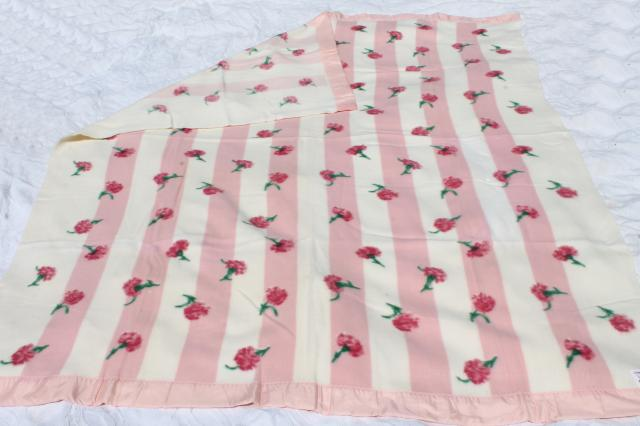 50s 60s vintage rayon plush blanket w/ cottage pink carnations floral, new old dead stock never used
