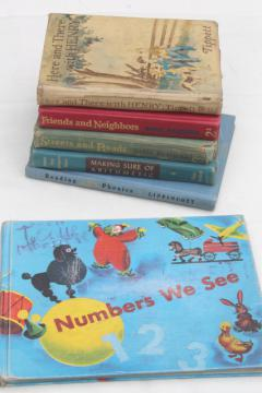 50s 60s vintage school books & readers, learning to read & numbers w/ great retro pictures