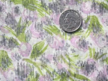 50s 60s vintage sheer cotton fabric, watercolor grass and crocus print