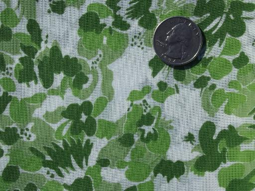 50s 60s vintage sheer nylon fabric, crisp organdy w/ green floral print