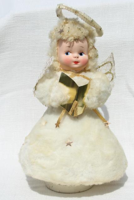 50s 60s vintage snow baby Christmas angel music box doll, fluffy blonde w/ chenille halo