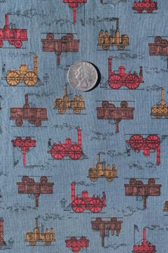 50s 60s vintage steam engine print cotton shirting fabric, retro steampunk