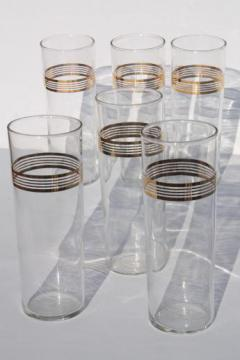 50s 60s vintage zombie cocktail glasses set, tall glass tumblers w/ deco gold