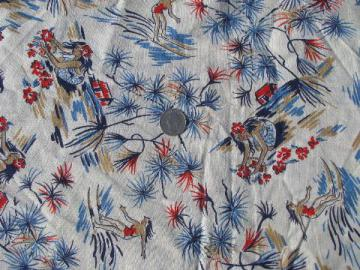 50s Hawaiian print cotton feedsack fabric, girls surfing, making leis