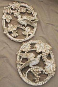 50s Universal statuary chalkware wall art plaques, antiqued plaster cameo ovals birds & flowers