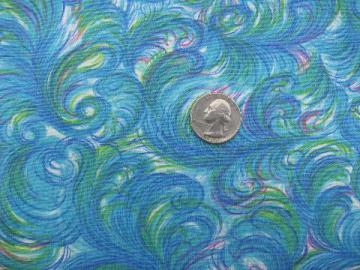 50s deco moderne ostrich plumes print vintage cotton fabric, 36'' wide