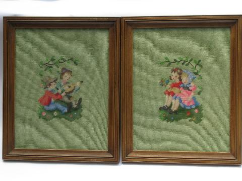 50s framed needlepoint pictures, Hummel style children in folk costumes