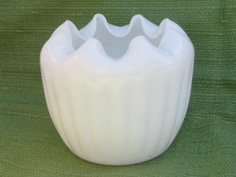 50s mod vintage milk glass flower bowl, wide crimped edge jar shape