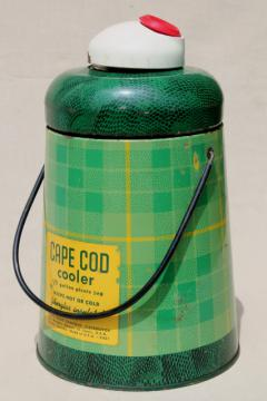 50s vintage Cape Cod cooler, green plaid insulated thermos bottle, road trip camping jug