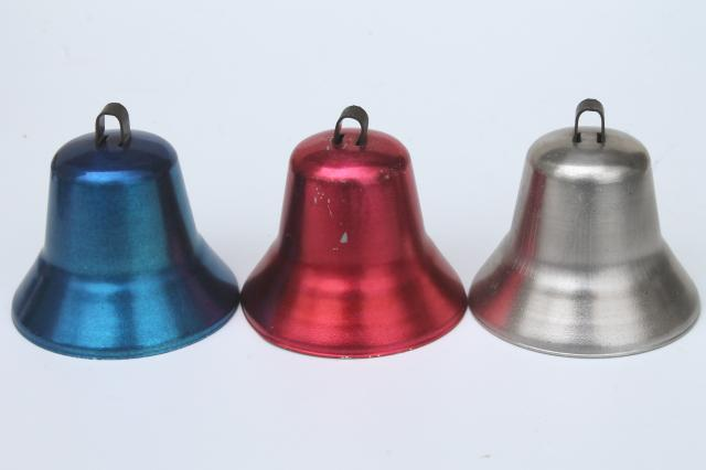 50s vintage Christmas bell ornaments, anodized colored aluminum ...
