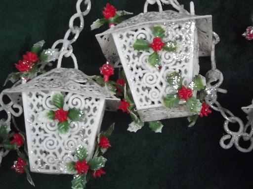 S vintage christmas garland chain of plastic lanterns