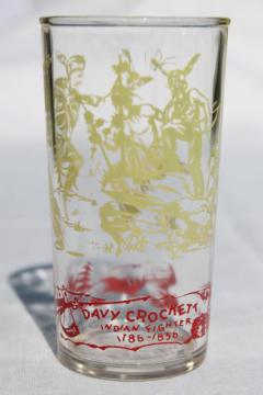 50s vintage Davy Crockett glass, character print collectible drinking glass