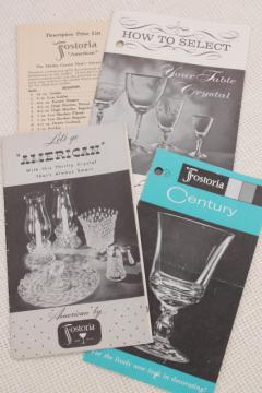 50s vintage Fostoria glassware advertising leaflets for pattern glass dishes, stemware