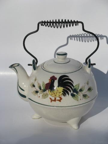 50s Vintage Japan Hand Painted Rooster And Flowers Teapot