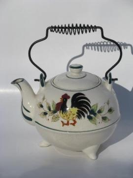 50s vintage Japan hand-painted rooster and flowers teapot, wire handle