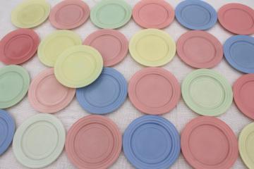 50s vintage Moderntone Hazel Atlas milk glass plates candy mint pastel pink, green, blue, yellow