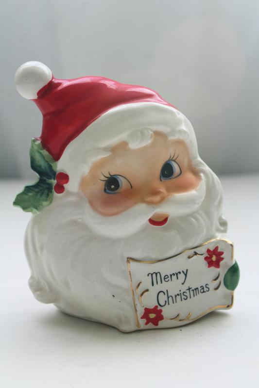 50s vintage Santa Claus painted ceramic greeting card letter holder Josef Originals