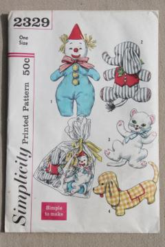 50s vintage Simplicity sewing pattern, easy stuffed toys animals, clown doll, dachshund dog, kitty