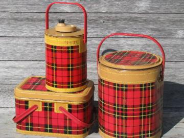 50s vintage Skotch tartanware plaid picnic set, tin hamper, cooler, jug