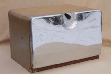 50s vintage all metal bread box, mid-century modern steel cabinet style bread box