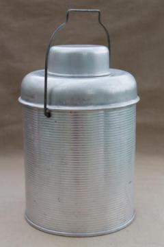 50s vintage aluminum thermos bottle picnic cooler jug for camping / fishing