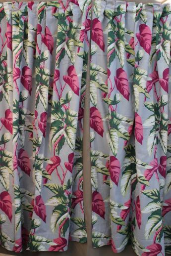 50s Vintage Barkcloth Drapes Cotton Barkcloth Fabric W