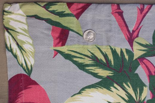 50s vintage barkcloth drapes, cotton barkcloth fabric w/ caladium leaf print