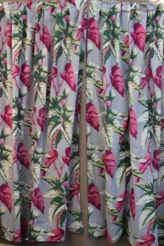 50s vintage barkcloth drapes, cotton barkcloth fabric w/ caladium leaf print