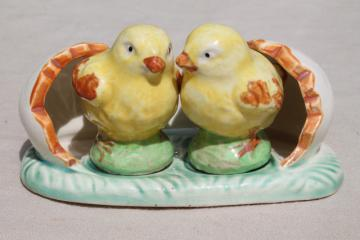 50s vintage ceramic salt & pepper shakers, S&P set twin baby chicks double yolk egg shell
