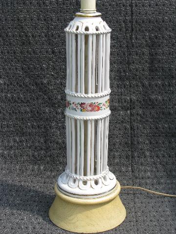 50s vintage ceramic table lamp, hand-painted flowers Italian pottery