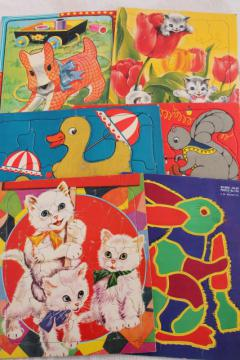 50s vintage children's puzzles, tray puzzle lot great old illustrations, fuzzy wuzzy animals
