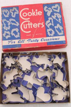50s vintage cookie cutter set in original box, canape / cookie cutters for all occasions