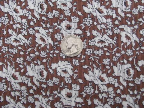 50s vintage cotton fabric, shadow stripe sheer lawn, roses on brown