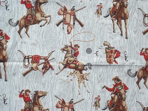 50s Vintage Cotton Fabric W Western Round Up Cowboy Print