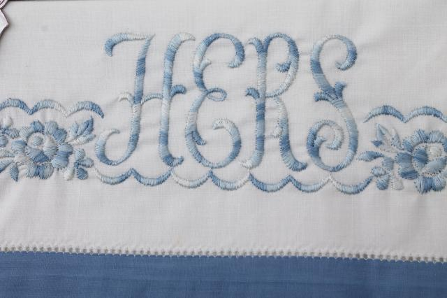 50s vintage cotton sheets & pillowcases, His & Hers embroidered linens never used