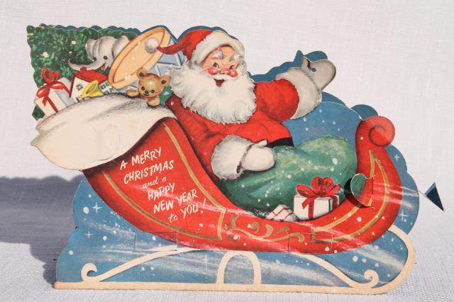 50s Vintage Die Cut Paper Christmas Decoration Santa Reindeer Sleigh